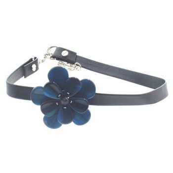 Karen Marie - Black Leather Choker Necklace w/Pansy - Capri Blue (1)