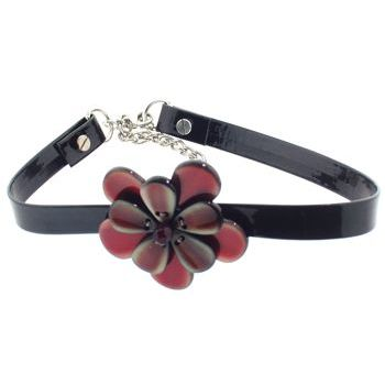 Karen Marie - Black Patent Leather Choker Necklace w/Pansy - Paprika (1)