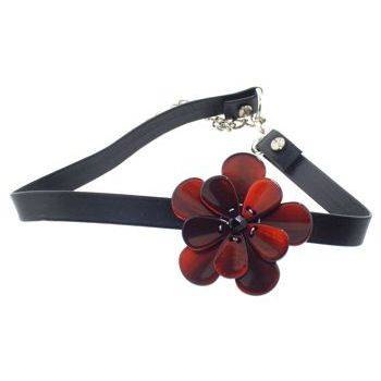 Karen Marie - Black Leather Choker Necklace w/Pansy - Siena (1)