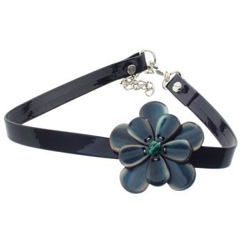 Karen Marie - Black Patent Leather Choker Necklace w/Pansy - Peacock (1)