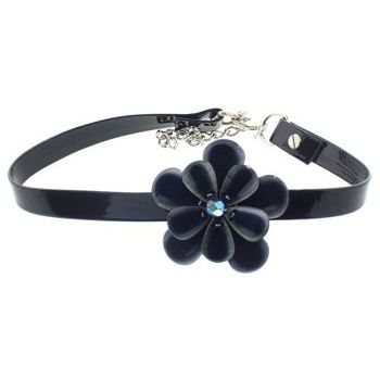 Karen Marie - Black Patent Leather Choker Necklace w/Pansy - Neptune (1)