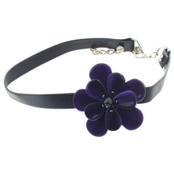 Karen Marie - Black Leather Choker Necklace w/Pansy - Rich Violet (1)