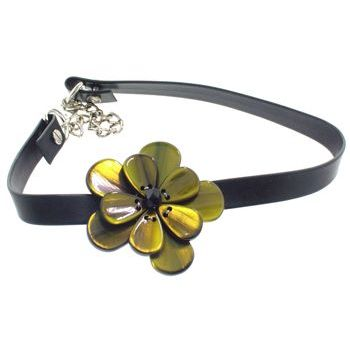 Karen Marie - Black Leather Choker Necklace w/Pansy - Olivine (1)