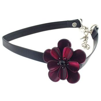 Karen Marie - Black Leather Choker Necklace w/Pansy - Fuschsia (1)