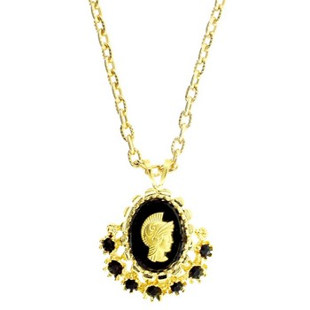 Alex and Ani - Vintage Inspired Warrior Cameo w/Crystals on Gold Hued Chain - Black (1)