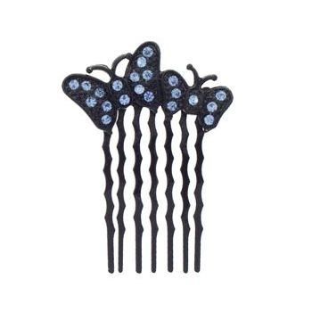 Karen Marie - Crystal Double Butterfly Petite Comb - Blue/Black (1)