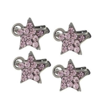 Karen Marie - Crystal Star Clips - Amethyst (Set of 4)