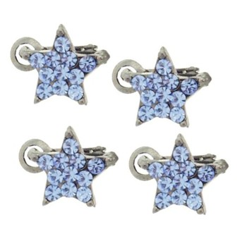 Karen Marie - Crystal Star Clips - Blue (Set of 4)