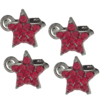 Karen Marie - Crystal Star Clips - Red (Set of 4)