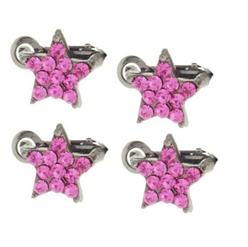 Karen Marie - Crystal Star Clips - Pink (Set of 4)