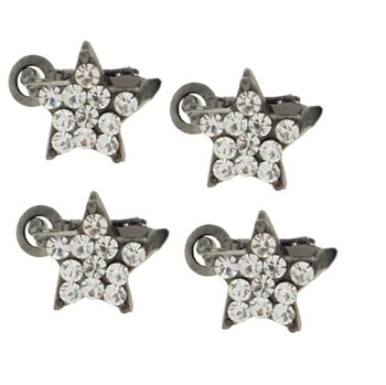 Karen Marie - Crystal Star Clips - White (Set of 4)