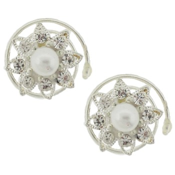 Karen Marie - Small Floating Crystal & Pearl Snowflake Coils  - White (set of 2)