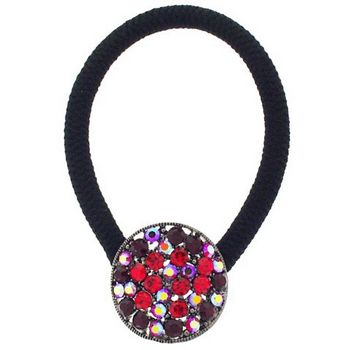 Karen Marie - Circle Crystal Pendant Pony Elastic - Red (1)