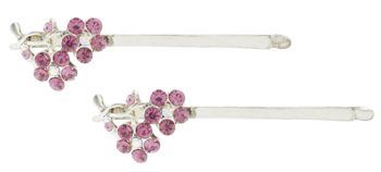 HB HairJewels - Austrian Crystal Flower Hairpins - Rose/Silver (Set of 2)