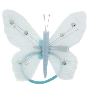 HB HairJewels - Hip Clips - Toulle Butterfly Pony Elastic & Clip - Baby Blue (1)