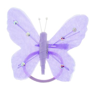 HB HairJewels - Hip Clips - Toulle Butterfly Pony Elastic & Clip - Lavender (1)