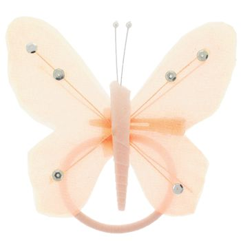 HB HairJewels - Hip Clips - Toulle Butterfly Pony Elastic & Clip - Peach (1)