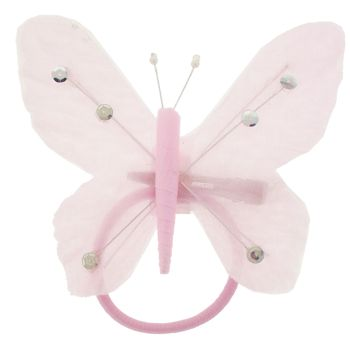 HB HairJewels - Hip Clips - Toulle Butterfly Pony Elastic & Clip - Pink (1)