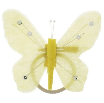 HB HairJewels - Hip Clips - Toulle Butterfly Pony Elastic & Clip - Yellow (1)