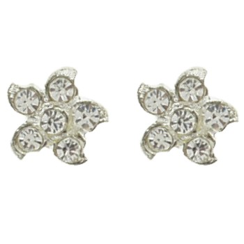 HB HairJewels - Austrian Crystal Flower Magnets - White (set of 2)