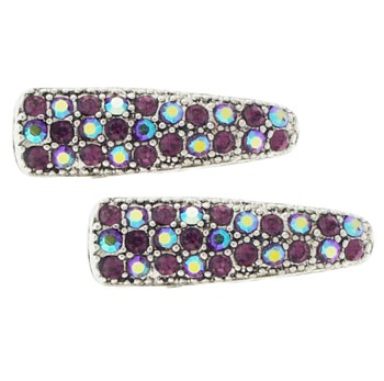 Karen Marie - Small Crystal Clips - Amethyst (set of 2)