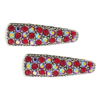 Karen Marie - Small Crystal Clips - Red (set of 2)