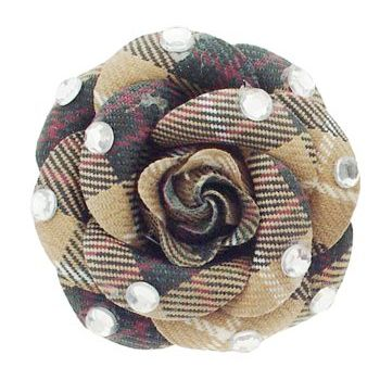 HB HairJewels - Lucy Collection - Burberry Inspired Rhinestone Flower Brooch Pin - Tan
