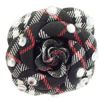 HB HairJewels - Lucy Collection - Burberry Inspired Rhinestone Flower Brooch Pin - Black