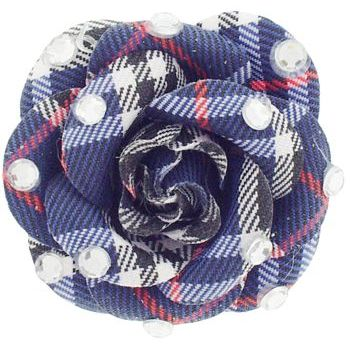 HB HairJewels - Lucy Collection - Burberry Inspired Rhinestone Flower Brooch Pin - Navy