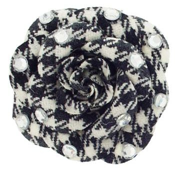 HB HairJewels - Lucy Collection - Houndstooth Inspired Rhinestone Flower Brooch Pin - Black & White