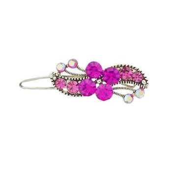 Karen Marie - Crystal Flower Mini Barrette - Pink (1)