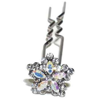 HB HairJewels - Austrian Crystal Mini Flower Pin - White