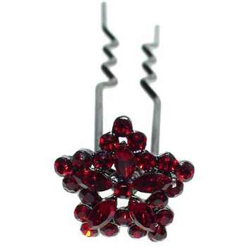 HB HairJewels - Austrian Crystal Mini Flower Pin - Red