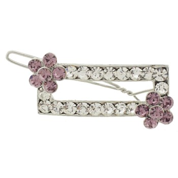 Karen Marie - Rectangle Crystal Barrette w/Flower - White w/ Lilac (1)