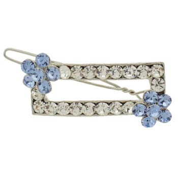 Karen Marie - Rectangle Crystal Barrette w/Flower - White w/ Blue (1)