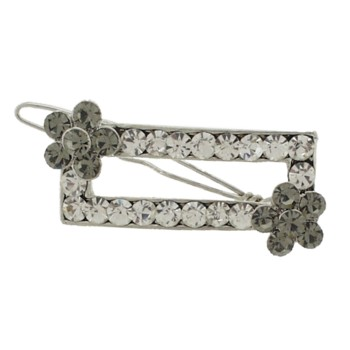 Karen Marie - Rectangle Crystal Barrette w/Flower - White w/ Smoke (1)