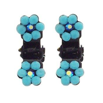 Karen Marie - Tiny Crystal Flower Claw - Turquoise/Black (Set of 2)