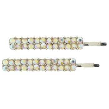 Medusa's Heirlooms - Crystal Double Flower Bobby Pin - White (1)