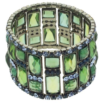 Medusa's Heirlooms - Art Deco Block Bracelet - Blue/Green