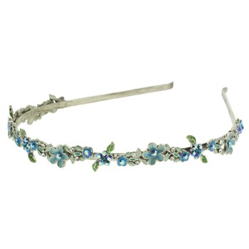 Medusa's Heirlooms - Enamel Crystal Flower Headband - Blue w/ Silver Band (1)
