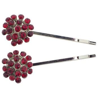 Karen Marie - Crystal Ball Bobby Pins - Red - Silver (Set of 2)