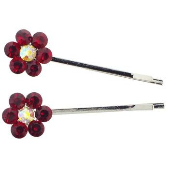 Karen Marie - Crystal Flower Bobby Pins - Red - Silver (Set of 2)