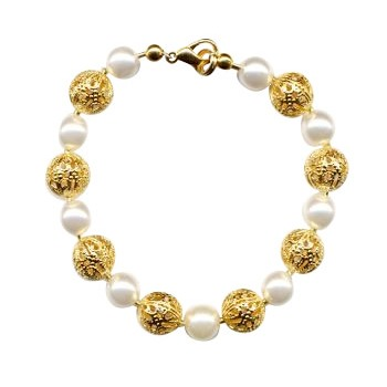 HB HairJewels - Diva Collection - Pearl & Gold Foil Bracelet
