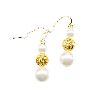 HB HairJewels - Diva Collection - Pearl & Gold Earrings