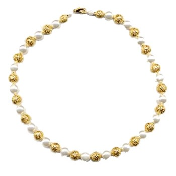 HB HairJewels - Diva Collection - Pearl & Gold Foil Bead Necklace