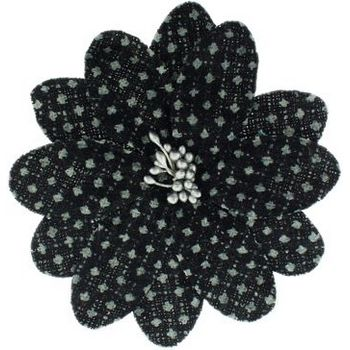 Karen Marie - Faux Tweed Flower Clips - Black w/Light Silver Dots (1)