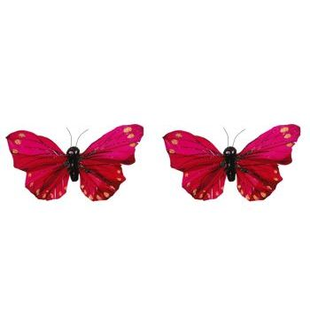 HB HairJewels - Lucy Collection - Glitter Butterfly Brooches - Magenta (Set of 2)
