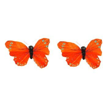 HB HairJewels - Lucy Collection - Glitter Butterfly Brooches - Tangerine (Set of 2)