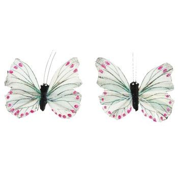 HB HairJewels - Lucy Collection - Glitter Butterfly Brooches - Ivory (Set of 2)