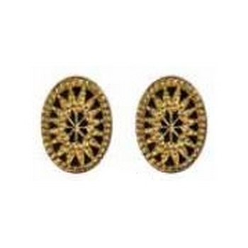 Tarina Tarantino - Gotham City - Etched Glass Starburst Cameo Post Earrings - Gold